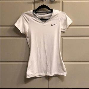 White Nike Dryfit V-Neck Top